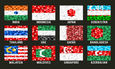 Asia low poly flags vector illustration