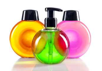 different color cosmetic bottles