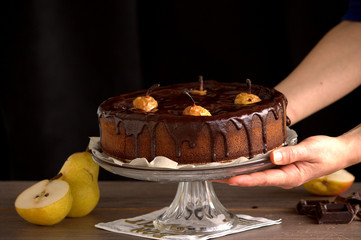 chocolate cake with pears