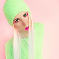 fashionable girl. Vanilla colors of summer