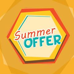 summer offer, yellow, orange and blue cartoon drawn label