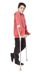 length child with crutches on white background
