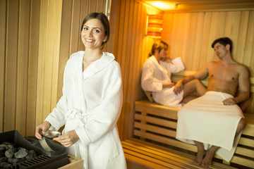 Young people in sauna