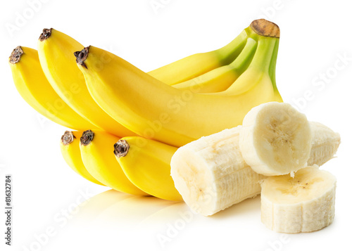 Foto Spatwand Eten bananas isolated on the white background
