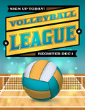 Volleyball League Flyer Illustration