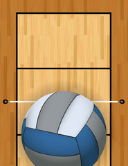 Vertical Volleyball and Volleyball Court Background Illustration