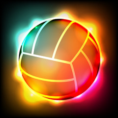 Glowing Colorful Volleyball Illustration
