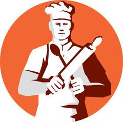 Chef Cook Rolling Pin Spatula Stencil