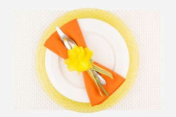Simple orange and yellow spring place setting