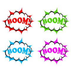 Boom icons set