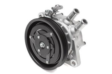Black pulley car engine on a grey background