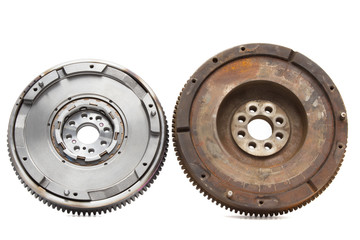 new and old rusty damping flywheels for car diesel engines