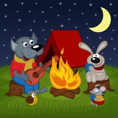animals resting around bonfire - vector illustration, eps