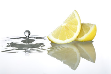 Lemon slices and water drop