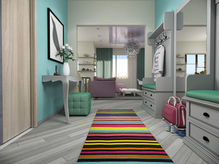 3d illustration of small apartments in pastel colors.Lobby and l