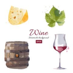 Watercolor vector wine background set