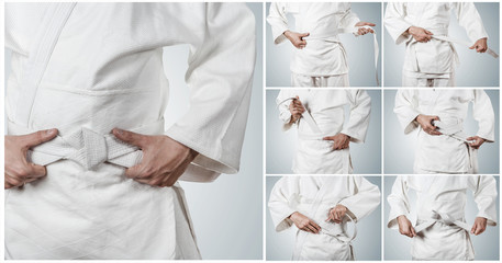 Aikidoka belt tying step by step pictures