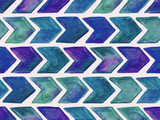 Fototapety Vector Seamless Watercolor Geometric  Pattern with Arrows