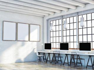 mock up poster in loft space, 3d illustration