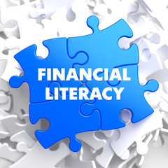 Financial Literacy on Blue Puzzle.