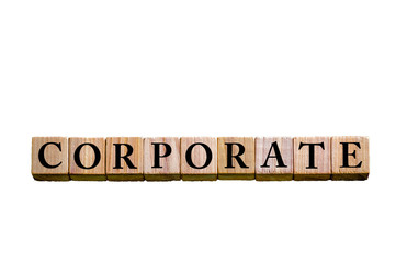 Word CORPORATE isolated on white background