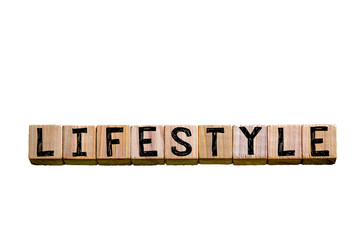 Word LIFESTYLE isolated on white background