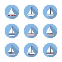 Sailboat icons set.