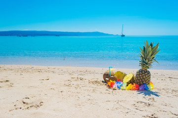 pineapples and coconuts by the shore