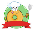 Chef Donut Cartoon Character Circle Label - 81639907