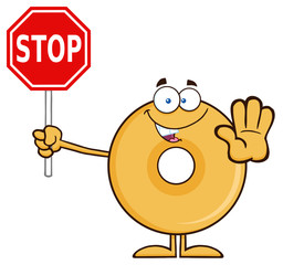 Smiling Donut Cartoon Character Holding A Stop Sign