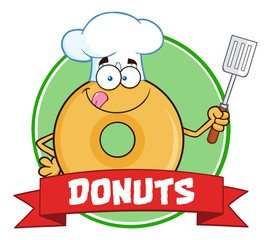 Chef Donut Cartoon Character Circle Label With Text