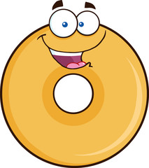 Happy Donut Cartoon Character. Illustration Isolated On White