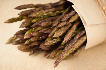 Fresh wild asparagus ready to be cooked