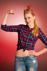 Beautiful young blond Pinup woman gesturing we can do it over re