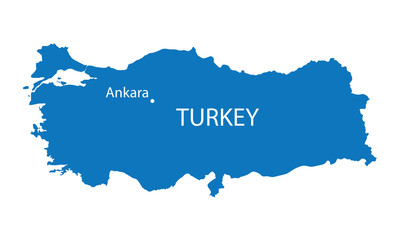 blue map of Turkey with indication of Ankara
