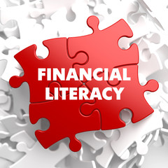 Financial Literacy on Red Puzzle.