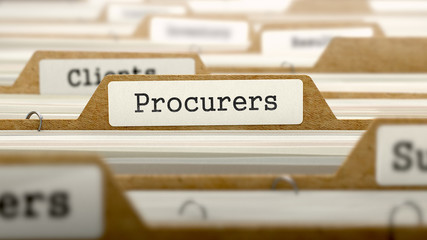 Procurers Concept with Word on Folder.