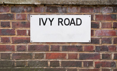 Ivy Road  Sign mounted on brick Wall
