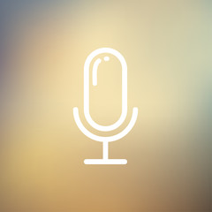 Retro microphone thin line icon