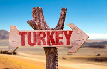Turkey wooden sign with desert background