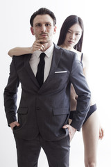 Businessman portrait with chinese model