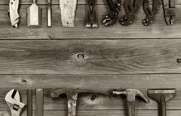 Old Work Tools on Aged Wood