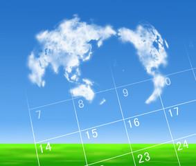 世界地図とカレンダー