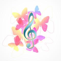 蝶とト音記号