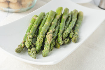 closeup of fresh cooked asparagus