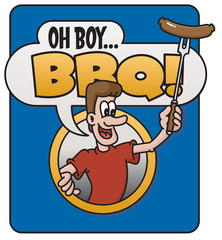 Oh Boy Barbecue! vector emblem