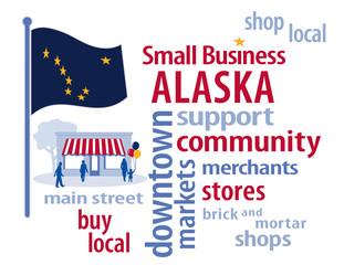 Alaska Flag, shop small business stores, Main Street, word art