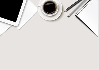 Office background with coffee, tablet, paper and some pens. Vect