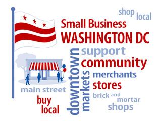 Washington DC Flag, shop small business stores, Main Street