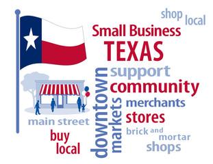 Texas Flag, shop small business stores, Main Street, word art